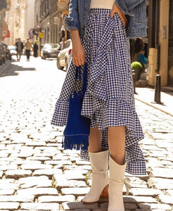 Cotton wrap plaid skirt