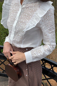 Cotton ruffled blouse