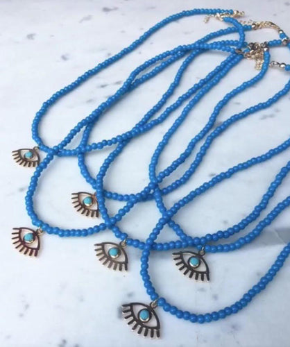 Blue beads eye charm necklace