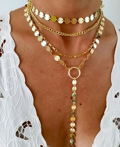 Four layered gold plated necklace