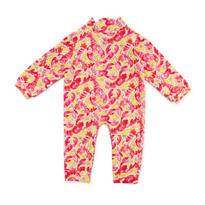 Bubsie Leighton the Lobster Organic Cotton Baby Girls Onesie Romper Back Side