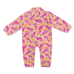 Bubsie Sloan the Seahorse Organic Cotton Baby Girls Onesie Romper Back Side