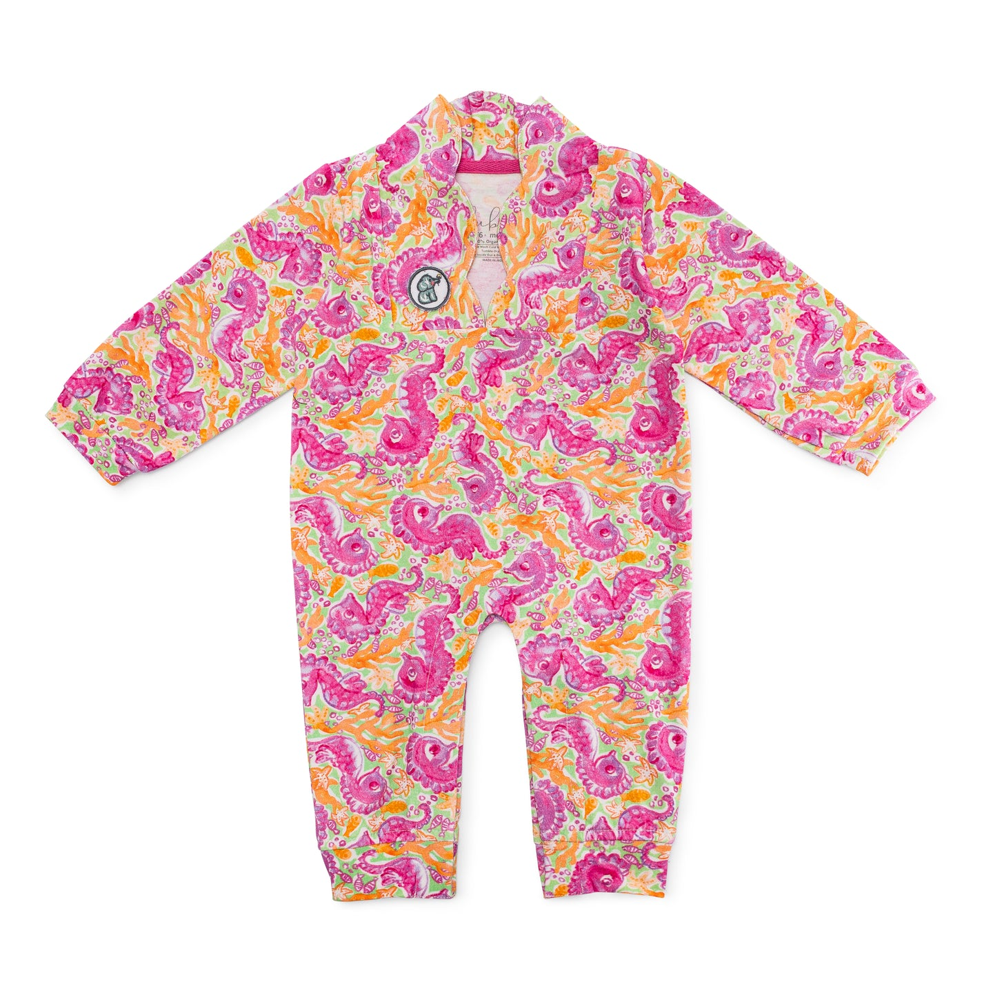 Bubsie Sloan the Seahorse Organic Cotton Baby Girls Onesie Romper