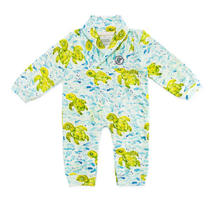 Bubsie Sebastian the Sea Turtle Organic Cotton Baby Boys Onesie Romper