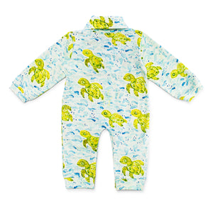 Bubsie Sebastian the Sea Turtle Organic Cotton Baby Boys Onesie Romper Back Side