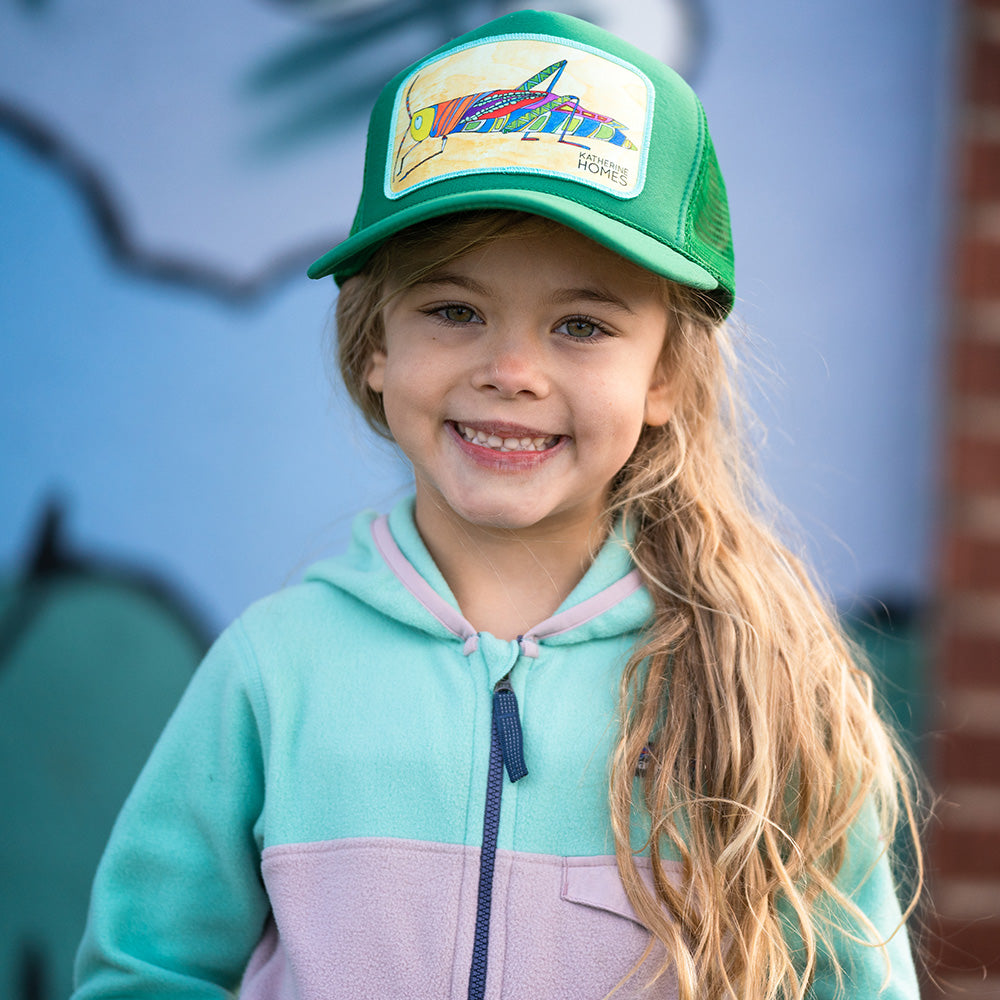 Katherine Homes Grasshopper Trucker Hat Youth | Green