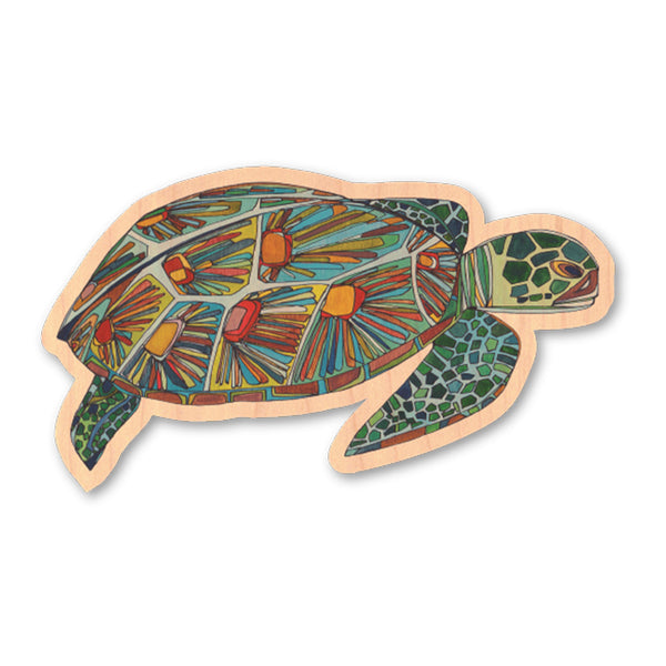 GREEN SEA TURTLE | WOOD STICKER