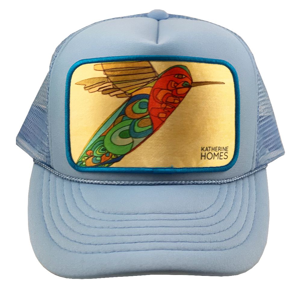 Katherine Homes Hummingbird Trucker Hat Youth Baby Blue