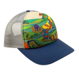 Katherine Homes Moose Adventure Trucker Hat | Blue and Grey