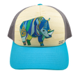 Sudan, Northern White Rhino Small Trucker Hat | Turquoise and Light Grey Mesh