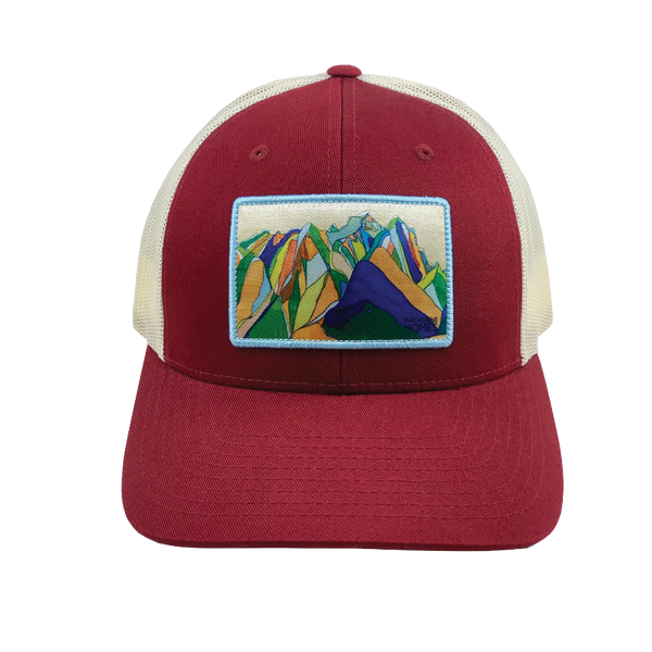 Grand Teton National Park  | Baseball Style Trucker Hat  | Maroon | Natural