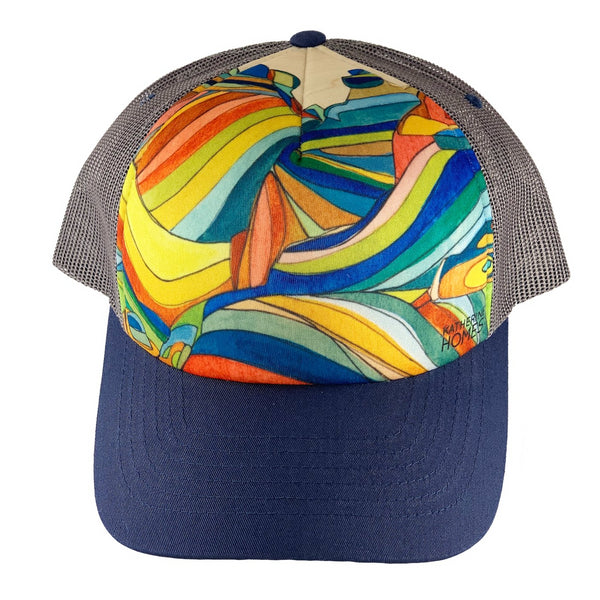 Katherine Homes Moab Trucker Hat | Navy Blue and Grey