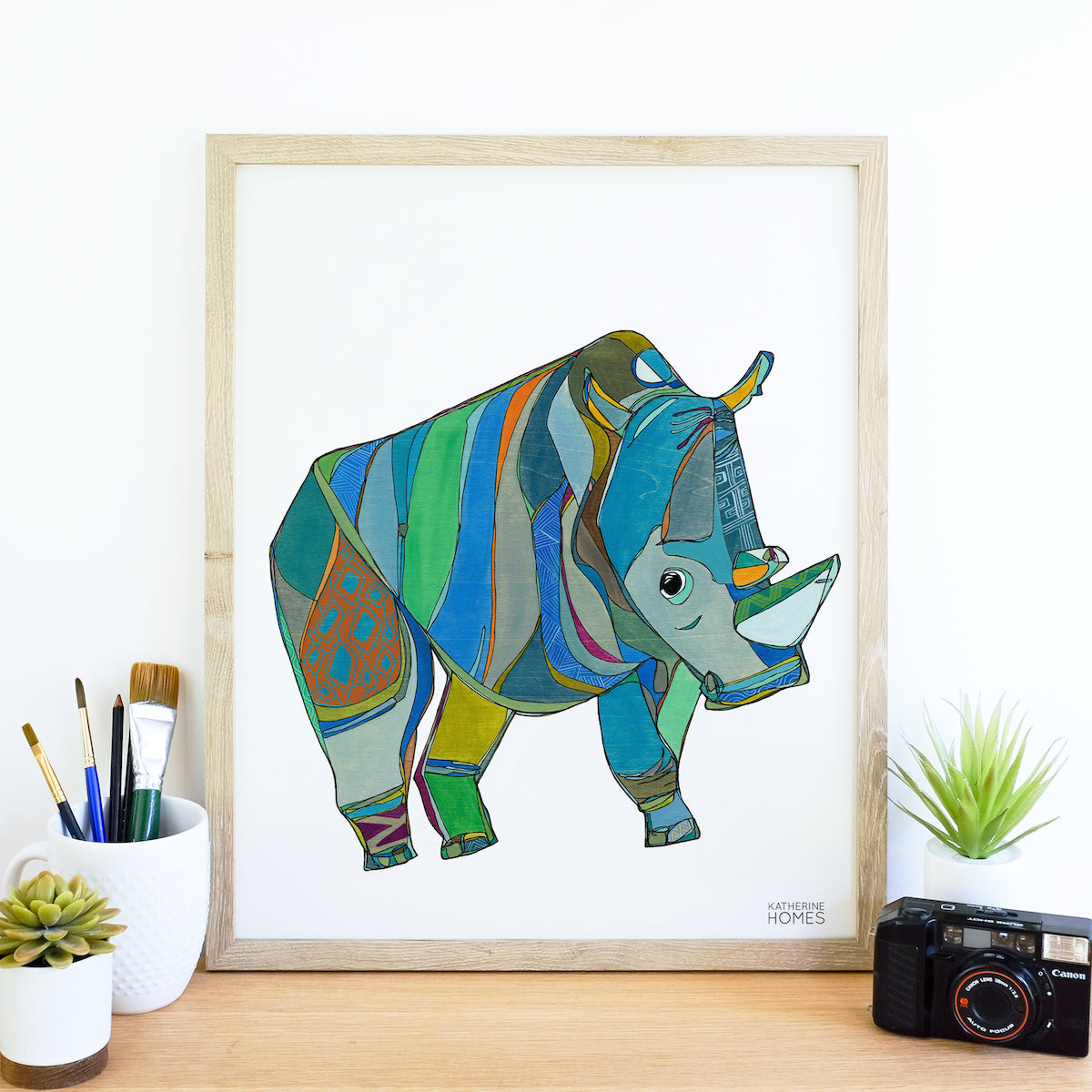 Katherine Homes Northern White Rhino Print