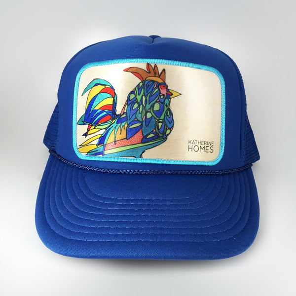 Katherine Homes Rooster Trucker Hat Youth Royal Blue