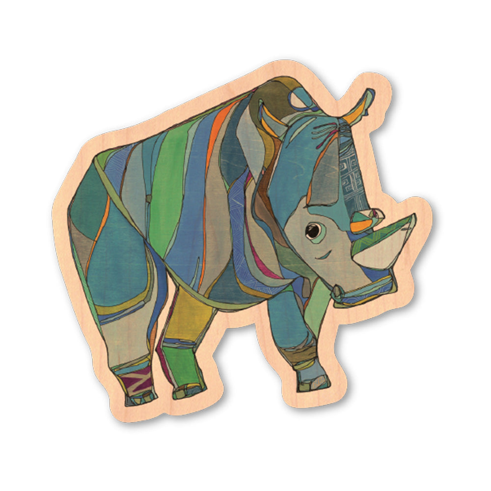 Sudan, Northern White Rhino | Wood Sticker