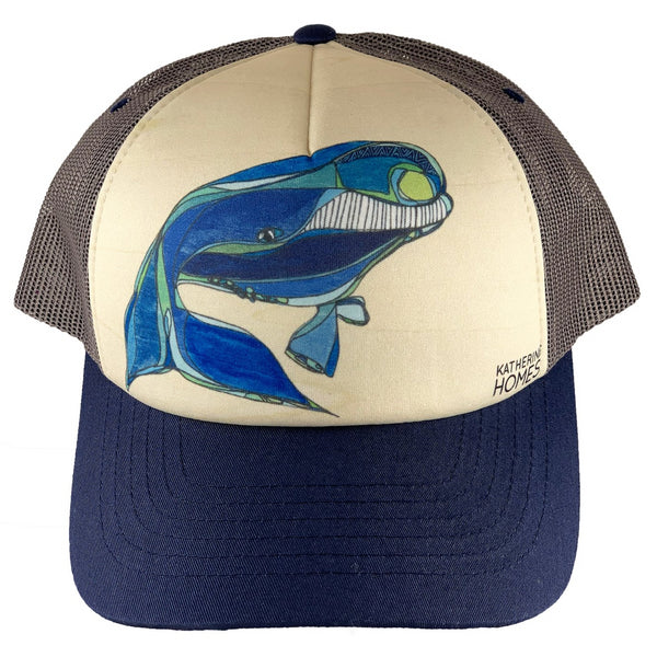 North Atlantic Right Whale | Foam Sublimation Baseball Hat | Blue | Grey Mesh