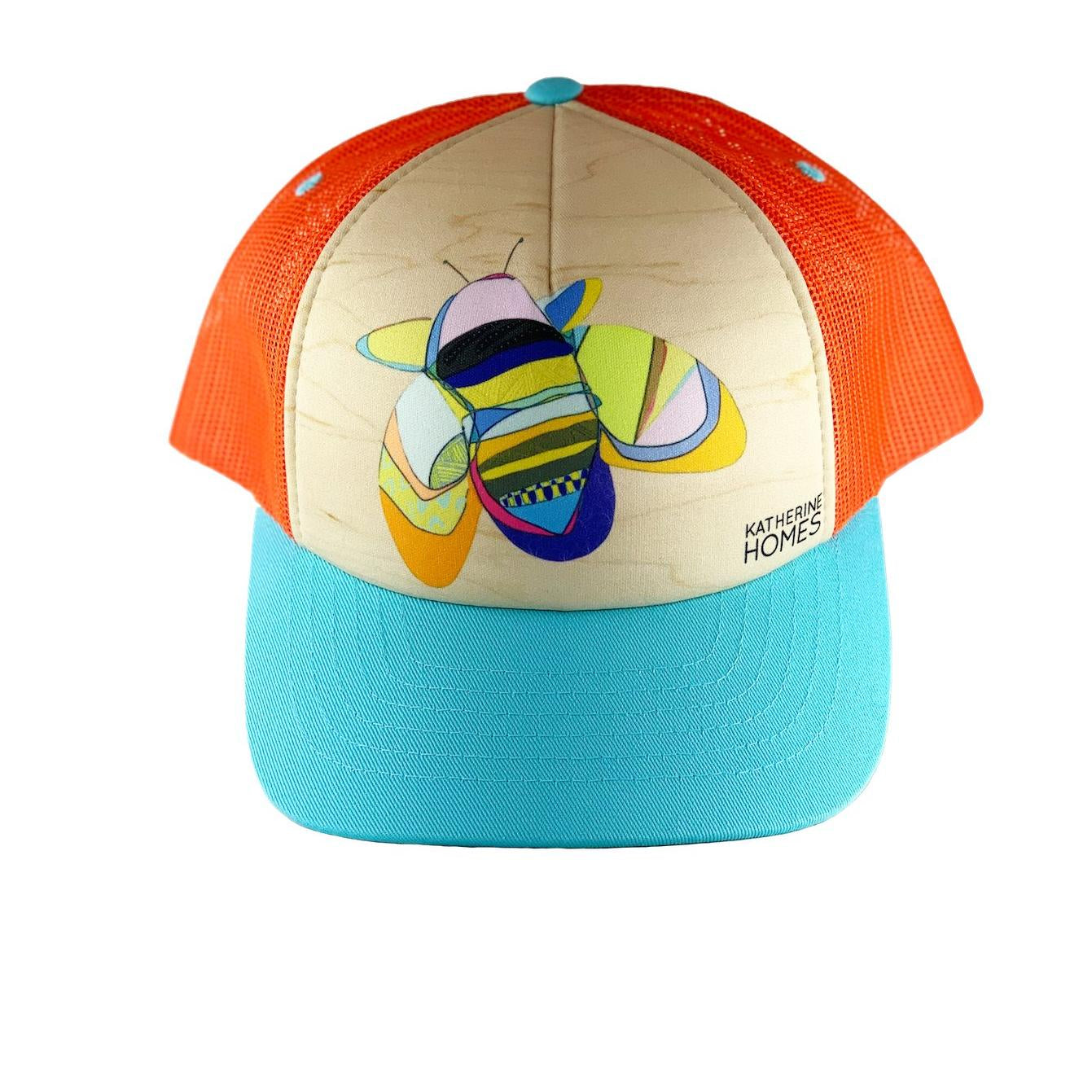 Katherine Homes Rusty Patched Bumble Bee Trucker Hat |Turquoise and Orange