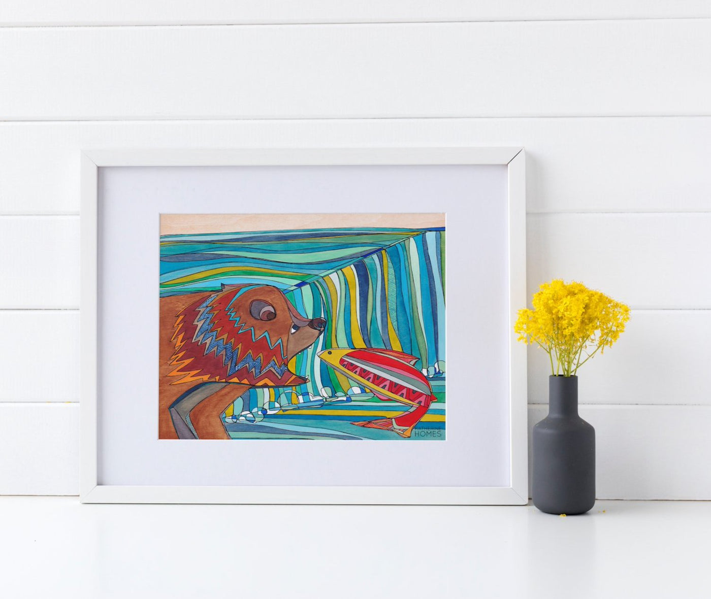 Katherine Homes Grizzly Bear and Salmon | Print