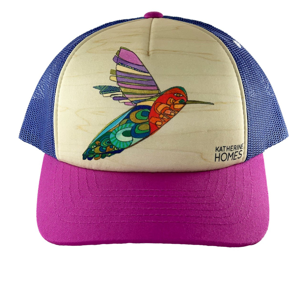 Katherine Homes Hummingbird Trucker Hat Youth | Velvet and Blue