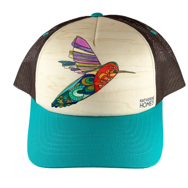 Katherine Homes Hummingbird Trucker Hat | Turquoise and Brown