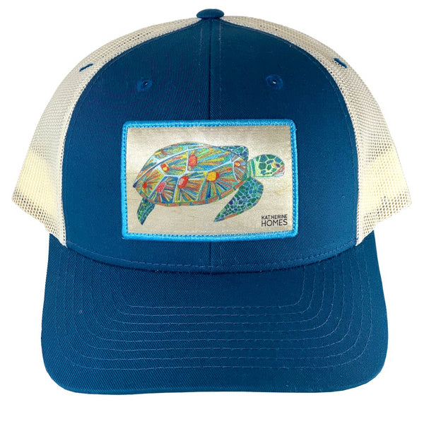 Katherine Homes Green Sea Turtle Trucker Hat | Seaport Blue