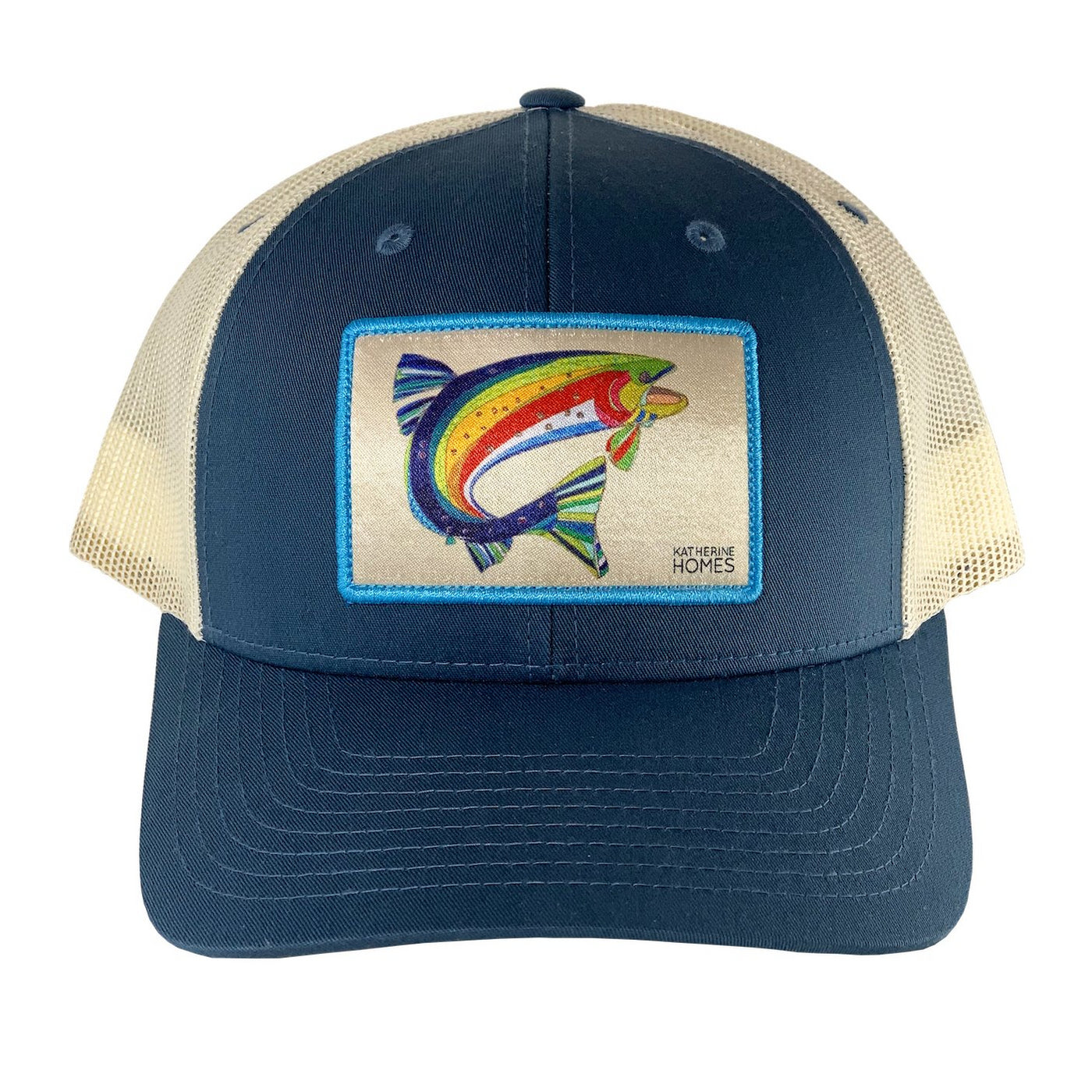 Front Katherine Homes Colorado Greenback Cutthroat Trout Indigo and Natural Baseball Hat