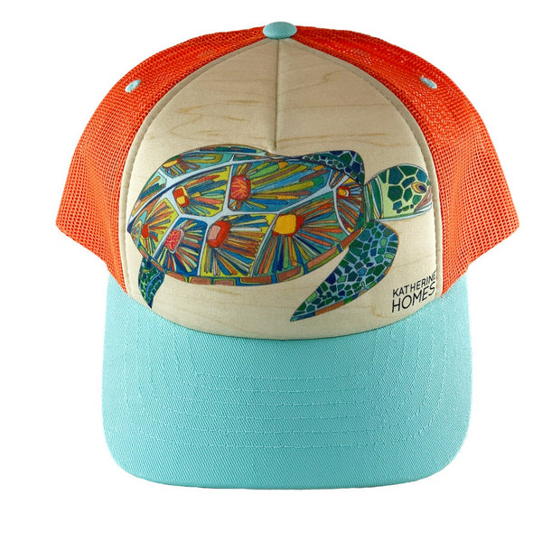 Katherine Homes Green Sea Turtle Trucker Hat Youth | Baby Blue and Orange