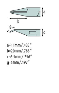 Oblique Tip Cutter 4.3/4'' Tungsten-Carbide edges, with fine bevel, Stainless Steel 3477FP00-RF