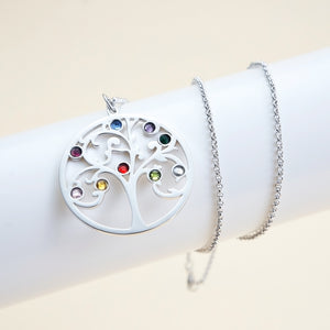 Family Tree Necklace with 9 Birthstone