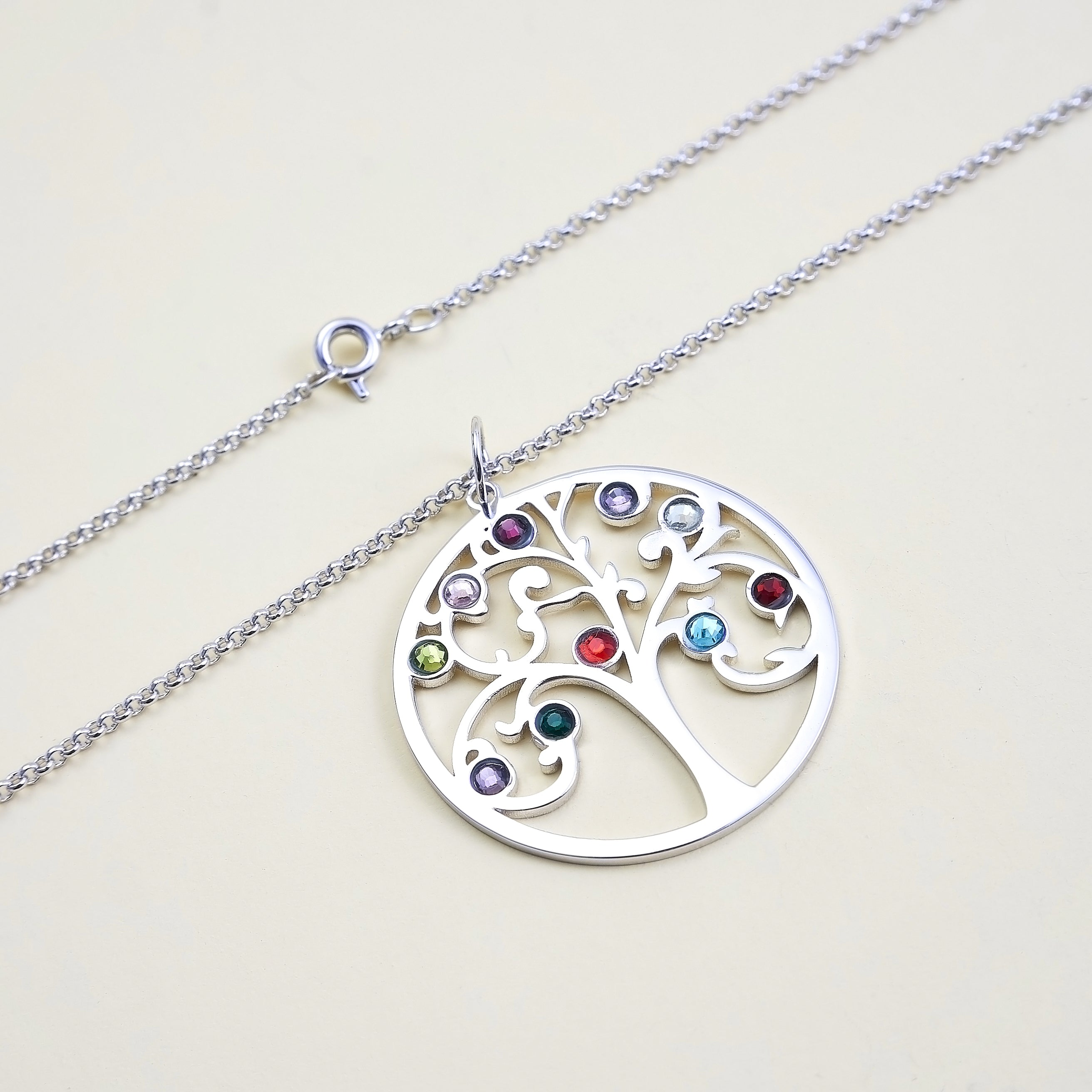 Family Tree Necklace with 10 Birthstone