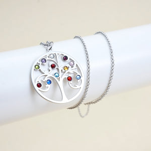 Family Tree Necklace with 12 Birthstone