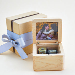 Personalized Wooden Photo Music Box with Engraved Words