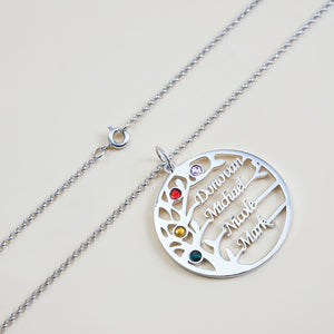Family Tree Personalized Necklace 4 Names with Birthstone