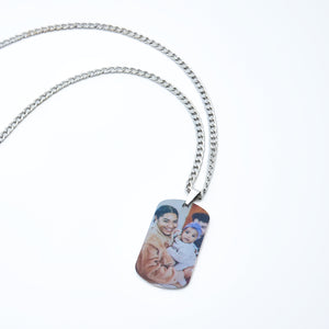 Stainless Steel Engraved Necklace, Personalized Photo Necklace