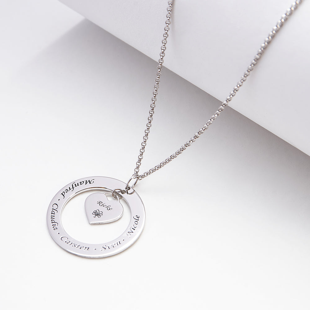 Engraved Necklace Name Necklace Heart shape inside