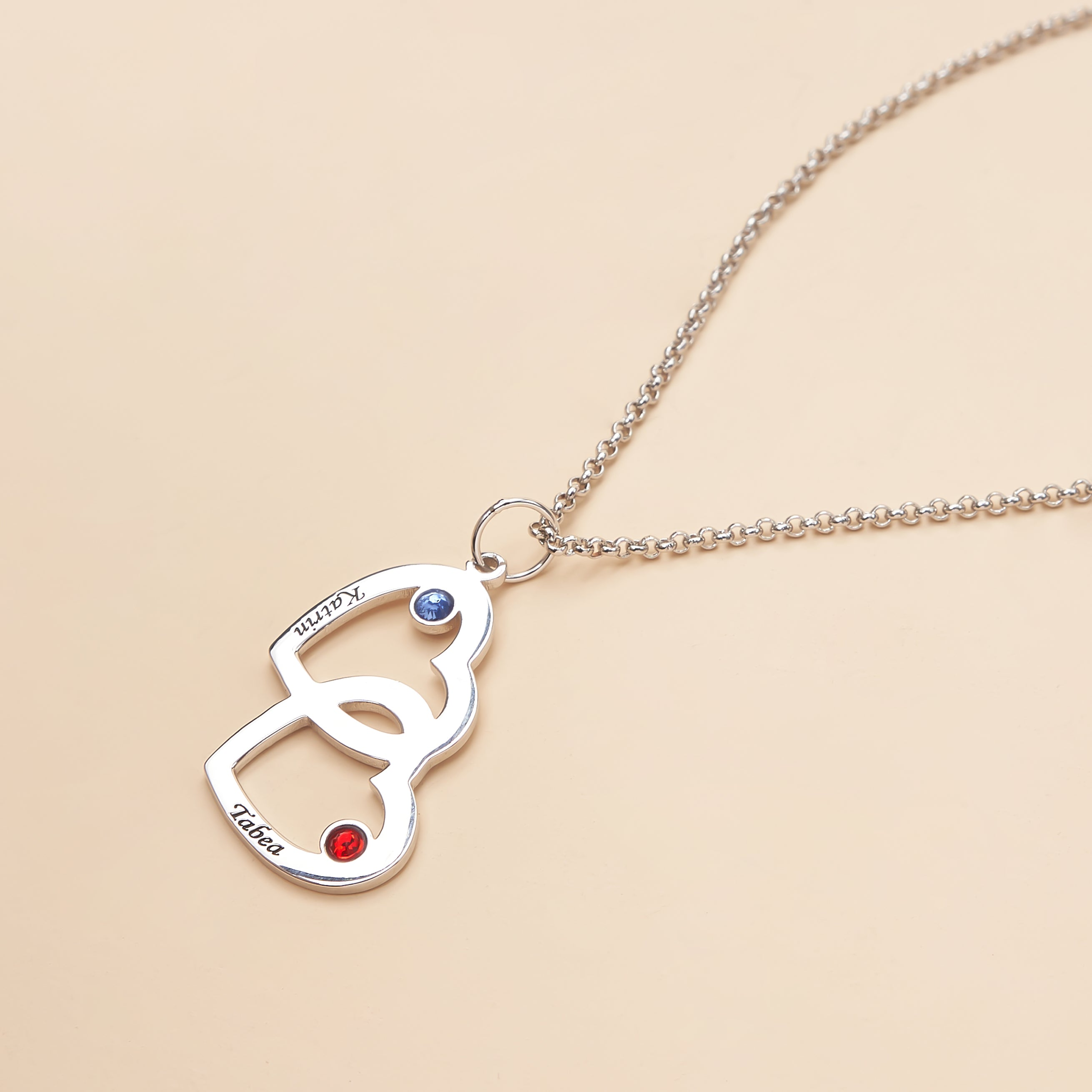 Heart-to-heart birthstone personalized name necklace