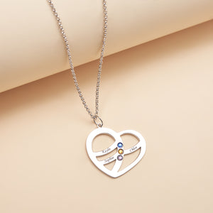 Personalized Heart shaped Three Name Necklace
