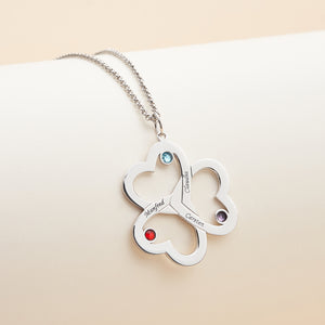 Lucky Clover Personalized Family Name Neckalce 3 Names with birthstones