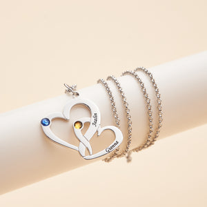 Interlocking Heart Promise Name Necklace with Two Birth Stones