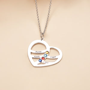 Personalized Heart shaped Four Name Necklace