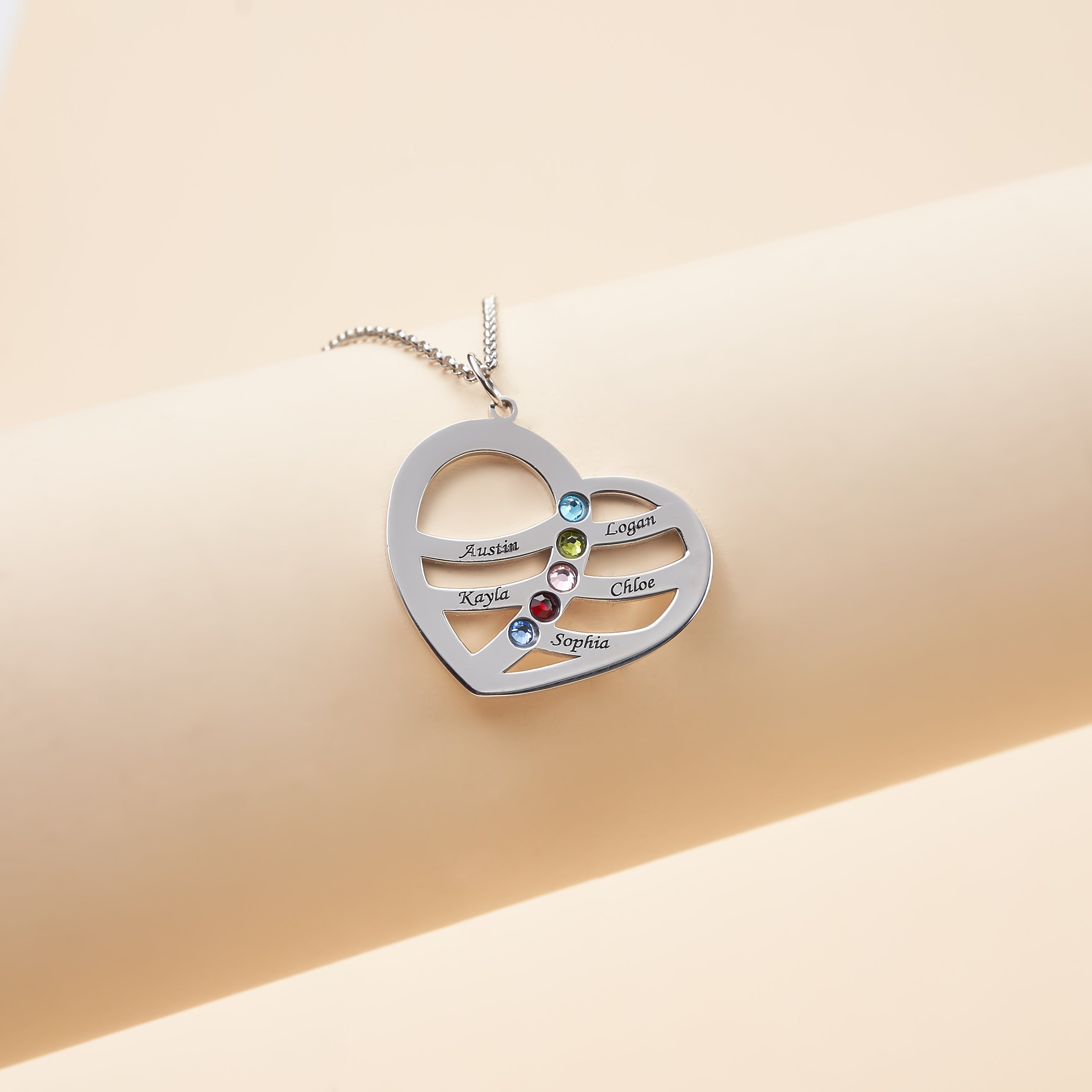 Personalized Heart shaped Five Name Necklace