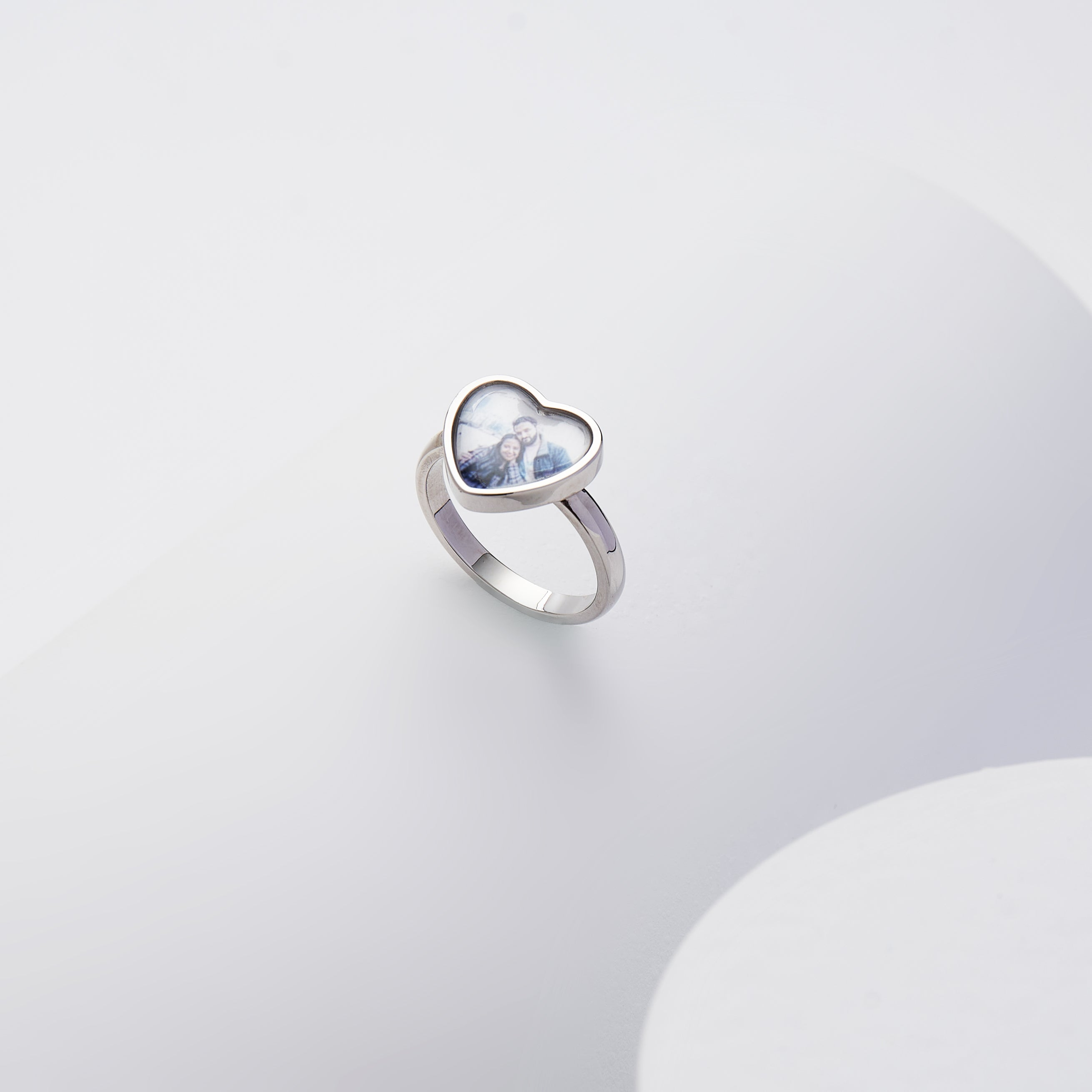 925 Silver Photo Ring Heart-Shaped, Mother's Gift