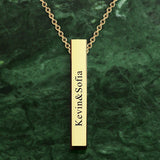 3D Engraving Bar Necklace, 4 Sided Vertical Name Necklace