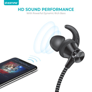 Overtime Wireless Bluetooth Sport Gym Neckband Headphones Headset Earbuds Earphones with Microphone - Black