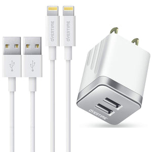 Phone Charger 4 Ft, Overtime MFi Certified Lightning Cable [2-Pack] with 2.4Amp Dual USB Wall Charger Adapter White