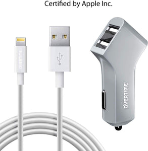 Dual USB 2.4A Car Charger with Apple Certified 4ft Lightning Cable - VarietySell
