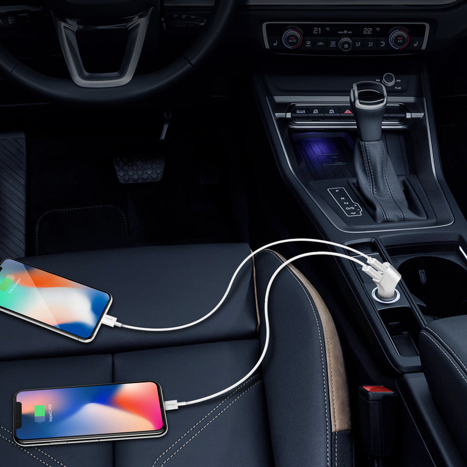 Overtime 2.4Amp Dual USB Car Charger With Apple Certified Lightning Cable