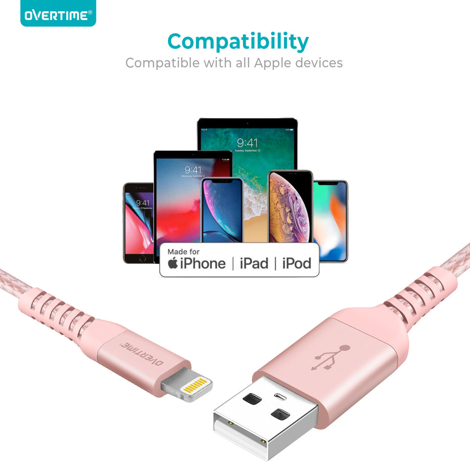[2 Pack] Overtime Lightning Cable Charger (6 ft) MFi Certified Lightning USB Charging Data Cable - Rose Gold