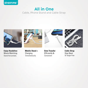 Overtime 2 in 1 MFi Certified Charging Cable Stand for Apple iPhone / iPad / iPod