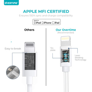 Overtime Apple MFi Lightning Cable 10Ft - White